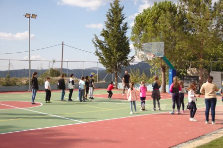 New basketball court in the school yard