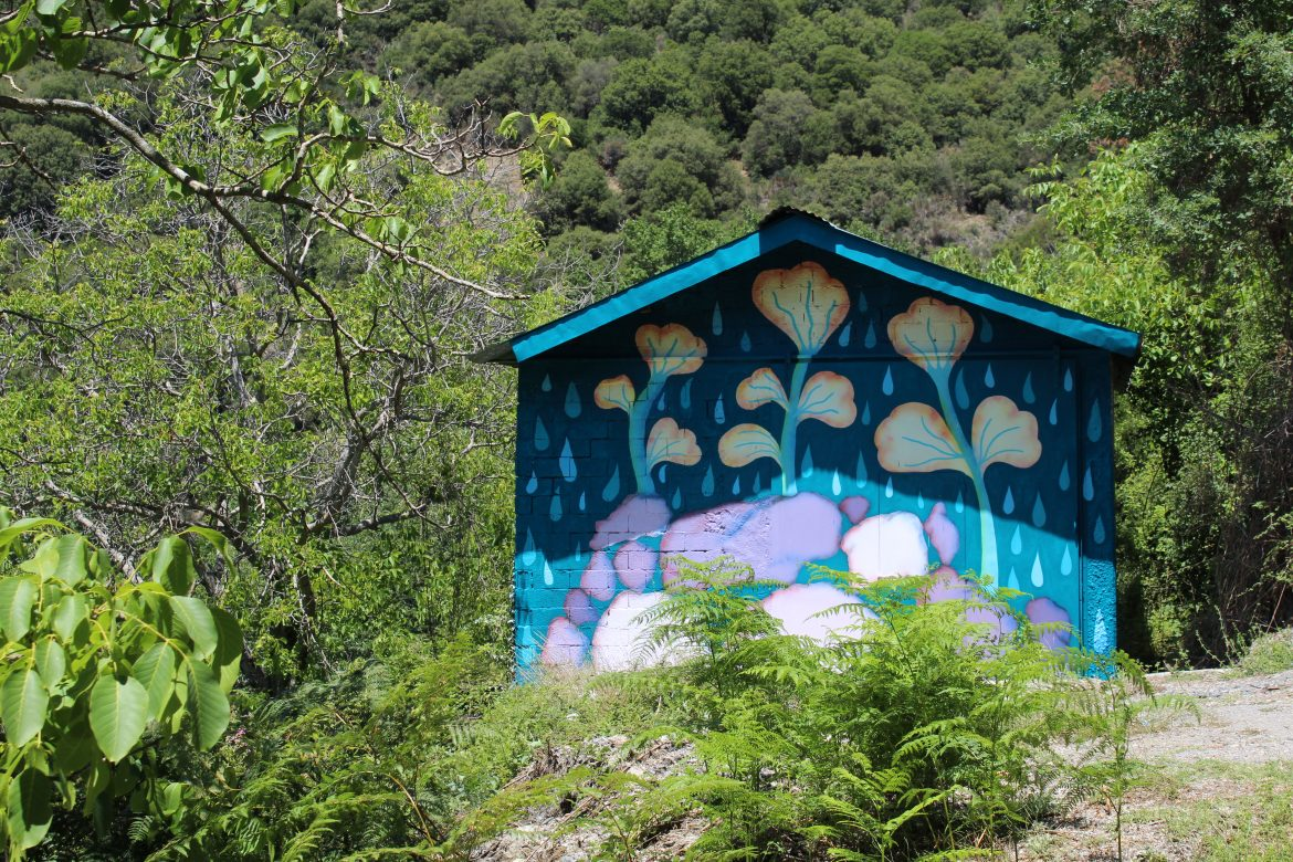 Vamvakou Revival | Another roadside attraction (Tricksters), acrylics and spray-paint on wall, 6x6 meters, 2020, by Alexandros Simopoulos.